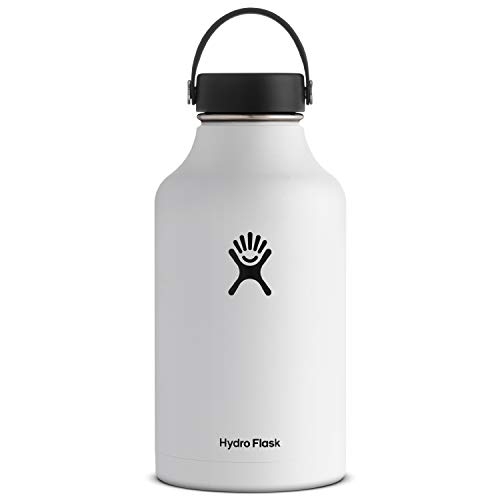 Hydro Flask Water Bottle - Stainless Steel & Vacuum Insulated - Wide Mouth with Leak Proof Flex Cap - 64 oz, White