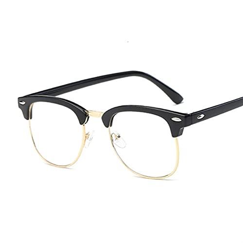 Gafas de Sol Hombres Vintage Anti Blue Light Glasses Marco Redondo Mujer Lente Myopia Espejo óptico Simple Metal Anti-Blue Clear Eyewear Frames Gafas de Sol (Frame Color : Bright Black)