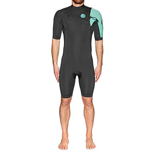 Rip Curl Mens Aggrolite 2mm Chest Zip Spring Shorty Wetsuit Teal - Chest Zip Entry. Internal Key Pocket - Glide Skin Collar