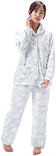 NISHIKI[ニシキ] パジャマ レディース ルームウェア 長袖 もこもこ 前開き 上下セット 冬 マイクロファイバー 保温 あったかい 部屋着 かわいい ふわもこ