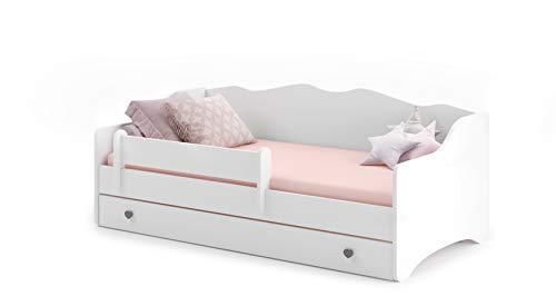 MEBLEKO Cama infantil EMMA WHITE 80x160 + marco + colchón + cajón, blanco