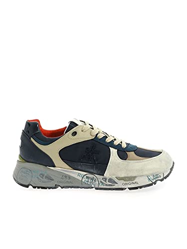Sneakers in Pelle INVECCHIATA Bianca, Pelle Nocciola, Blu,Beige (41)