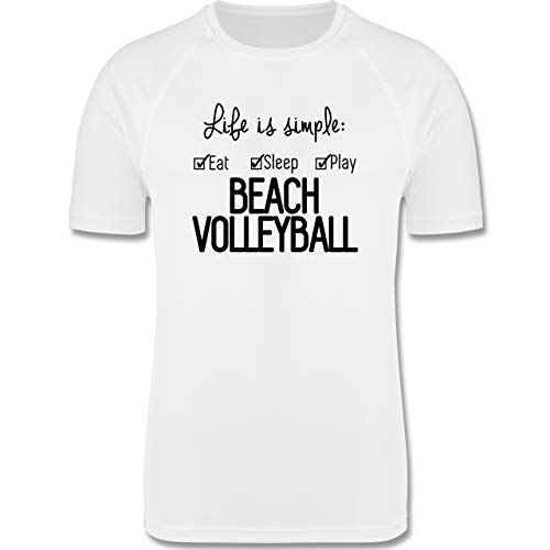 Shirtracer Volleyball - Life is Simple Beachvolleyball - S - Weiß - Volleyball weiß - F350 - Herren Laufshirt