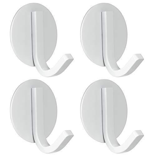 BasicForm Ganchos Adhesivos de Acero Inoxidable Ultra Fuerte Adhesivo para Baño y Cocina Blanco (1-Gancho x 4 Piezas)