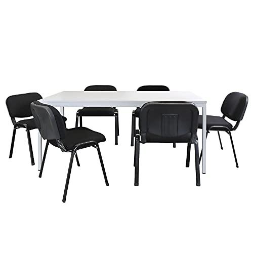 ADB Büro Sitzgruppe Konferenztisch 160x80cm mit Stühlen Besprechungstisch für 6 Personen