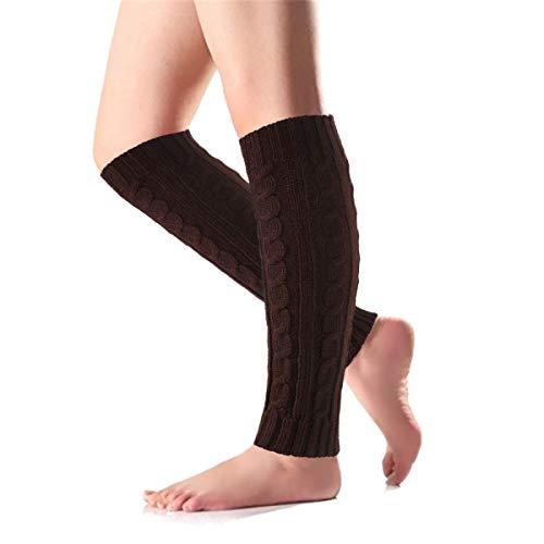 Tacobear Calentadores Piernas Mujer Invierno Caliente Legwarmer Lana Largos Calcetines de Bota Calcetines de Punto para Mujer Niña (marrón)