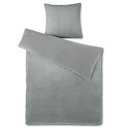 aqua-textil Feelwell Bettwäsche 135 x 200 cm 2teilig Coral Fleece Bettbezug Thermo Flausch silber grau
