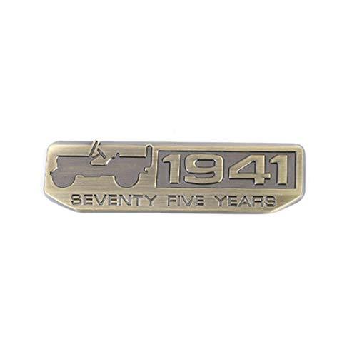 SYSONE 75th Anniversary Metal Badge 1941 Logo Emblem 3D Stickers Decorazione per Jeep Patriot Grand Compass Renegade Cherokee Wrangler, Bronzo A