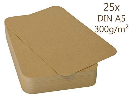 25er Pack Kraftpapier Kraftkarton A5 Karte 300g/m² Bastelkarton braun runde Ecken