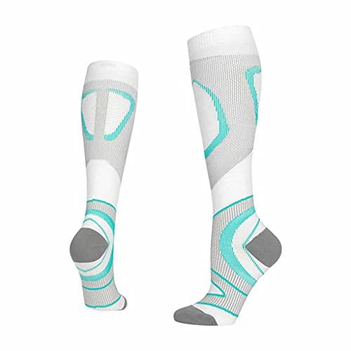 ZSQAW Medias de compresión de tubo largo profesional maratón corriendo calcetines deportes compresión calcetines vena montar baloncesto (Color : A, Size : Large)
