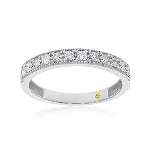 La Joya 1/12 CT TW Certified Womens Lab Created Milgrain Diamond Ring - Solid 10k White Gold Diamond Wedding Rings, Anniversary Bands, Promise Rings And Stackable Bands For Women - Ring Size 7