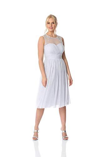Roman Originals Damen Knielanges Kleid mit Perlenbesatz - Damen Sommerkleid, Pastellfarben, Brautjungfer, Hochzeit, besondere Anlässe, Bälle, abends - Light Blue - Größe 44