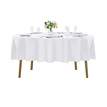90 inch Round Tablecloth Washable Polyester Table Cloth Decorative Table Cover for Wedding Party Dining Banquet(90 inch,White)