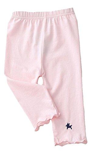 Plus Nao(プラスナオ) 子供用 スパッツ 5分丈 レギンス タイツ ウエストゴム シンプル ワンポイント カラースパッツ 刺繍 裾フリル 動きや 110 ピンク