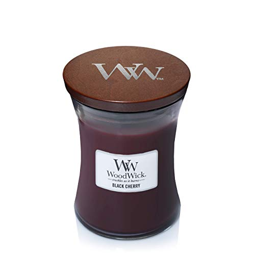 WoodWick vela aromática mediana en forma de reloj de arena, cereza negra