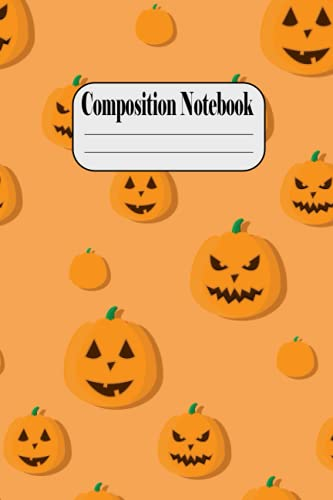 Composition Notebook: Little Pumpkins on Halloween Night - Halloween Orange and White Kawaii Pumpkin Ruled Composition Notebook - Ruled Journal ... Stylized With Spooky Boo Ghost , Great Gift