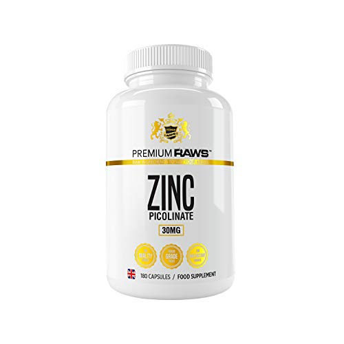 Zinc Picolinate 30mg - 180 Vegetarian Capsules Highly Absorbable Zinc Supplements for Immune Support, Hair and Skin & Reproductive Health. for Men & Women.