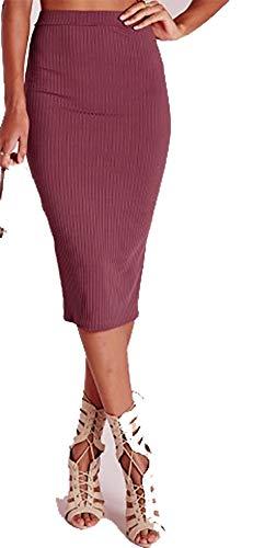 Pretty Fashion Damen Bleistiftrock mit separatem, elastischem Taillenbund, Midi-Länge, ca. 63,5 cm, Knielang, Übergrößen 36-50 Gr. 36, Beere