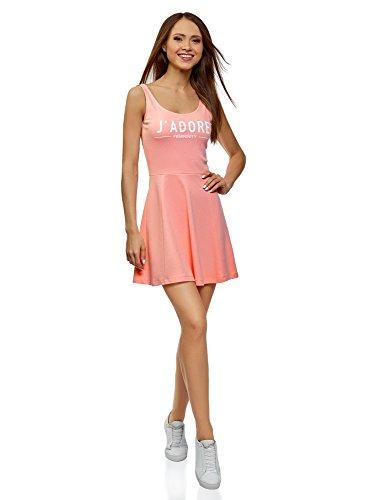 oodji Ultra Damen Trägerkleid mit Ausgestelltem Rock, Rosa, M