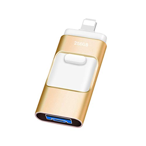 Kaulery Memoria USB 256GB para iPhone Android USB 3.0 Pendrive Compatible con iOS Computadoras Laptops 3 en 1 Memoria Flash (256GB, Dark Golden)