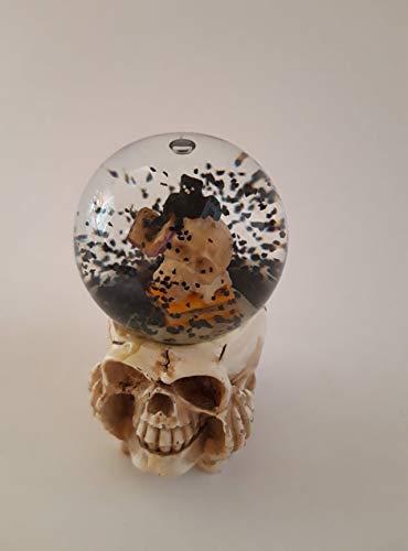 Storchenlädchen Glitterkugel Halloween, Schädel mit Fledermaus, Glitzerkugel Schneekugel Schneekugeln