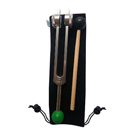 7haofang Tenedor de afinación OM de 136,1 Hz ponderado, con Base de Cuentas de Buda para una curación y relajación máximas, Verde para el Chakra del corazón