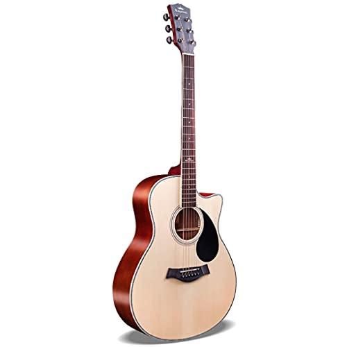 XYF 41in Anfänger Akustikgitarre Akustische Elektrische Reisegitarre Gitarren Starter Set Bundle Mit Koffer, Gurt, Kapodaster, Saiten, Plektren, Stimmgerät