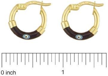 18Kt Yellow Gold Blue Eye Hoop Earrings (13mm)