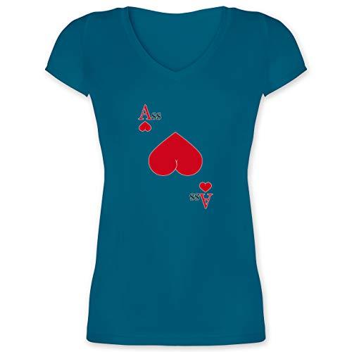 Statement - Herz Ass - S - Türkis - Casino - XO1525 - Damen T-Shirt mit V-Ausschnitt