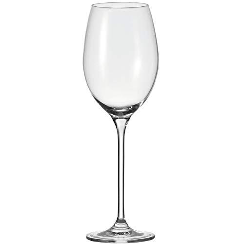 Leonardo Cheers Weißwein-Gläser 6er Set, spülmaschinenfeste Wein-Gläser, Wein-Kelch mit gezogenem Stiel, Weisswein Weingläser Set 400 ml, 081431