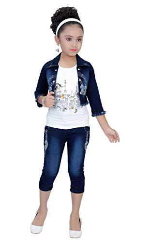 Arshia Fashions Girls Top Capri and Denim Jacket Set