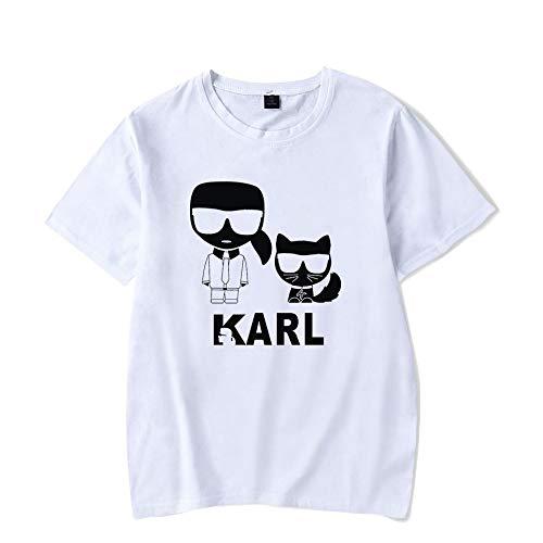 INSTO T-Shirt Mode Karl Lagerfeld Drucken Kurze Ärmel T-Stück Beiläufig Lose Trikot Mehrfarben Optional/Weiß/S