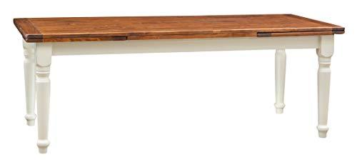 Biscottini Table Extensible en Bois Massif de Tilleul – Style Country – Style Shabby – Structure Blanche vieillie Plan Noyer L 220 x P 100 x H 80 cm