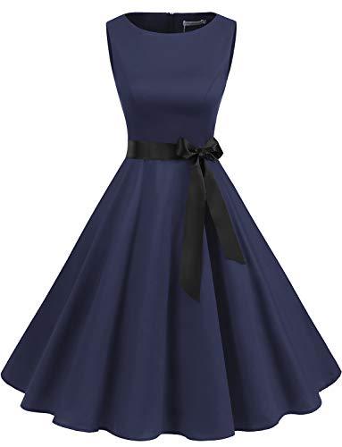 Gardenwed Damen 1950er Vintage Cocktailkleid Rockabilly Retro Schwingen Kleid Faltenrock Navy M