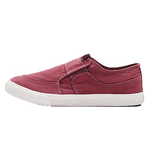 Zapatos de Lona para Hombre Zapatos Casuales Transpirables de Corte bajo sin Cordones Suela Suave Mocasines Planos de Color sólido Antideslizantes