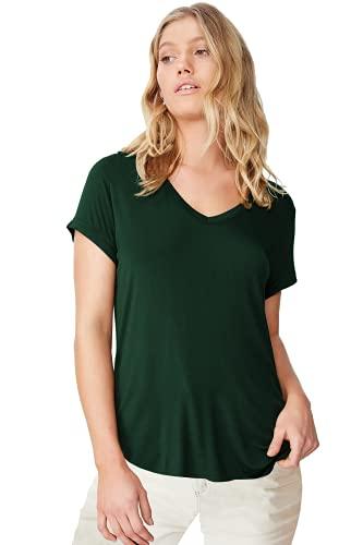 Fabricorn Cotton V-Neck Up Down Short Sleeve Tshirt for Women