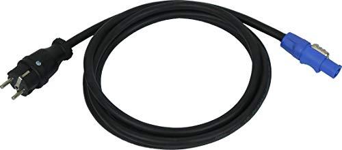 NWP Netzkabel 3m powerCON 20A auf 230V Schuko Stecker - 3x2,5mm² - Gummischlauchleitung - NAC3FCA Power-In (blau)