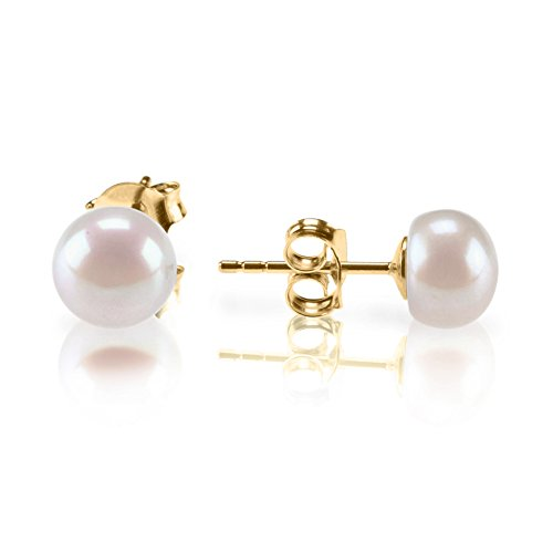 PAVOI Sterling Silver Freshwater Cultured Stud Pearl Earrings - 5.5mm AAA Quality