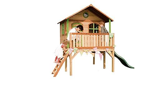 Beauty.Scouts Holzspielhaus Wiar mit Veranda + Leiter + Rutsche 200x380x274cm aus Holz in braun Kinder Spielhaus Kinderspielhaus Gartenhaus Holzhaus Stelzenhaus