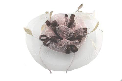 Occasion Chapeaux pour femme, Mini chapeau à large bord pour les mariages ou les courses, avec nœuds Centre de forme et lumière plumes. Deux Options de couleurs. Nos 'Richmond 'fascinator. - Rose -
