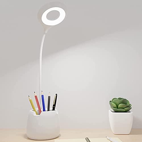 Lámpara Escritorio LED, Flexo LED escritorio, 3 Niveles de Brillo Panel Táctil Luz Flexo de Escritorio, Lámpara de Mesa Regulable Cuidado Ocular con puerto de Carga USB LED- Luz Lectura Lámpara