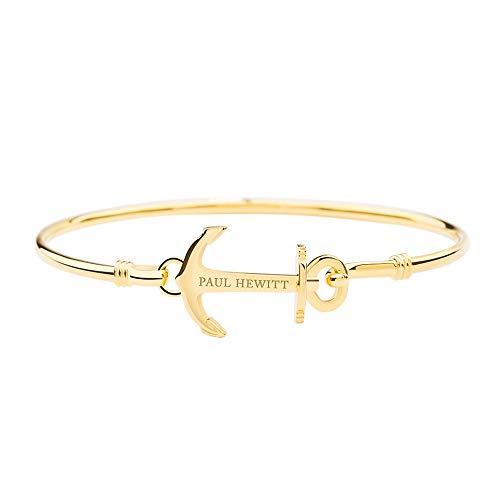 PAUL HEWITT Armreif Gold Damen Anchor Cuff - Damen Armreif offen, Armreifen Gold im maritimen Style