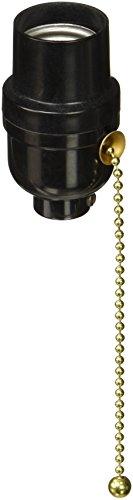Leviton 95065 Electrolier 2-Piece Lamp Holder with 6-1/4 in Pull Cord, 660 W, Incandescent, Medium, Phenolic Body, Black