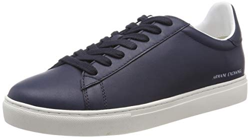 Armani Exchange Herren Low Rise Leather Lace Up Sneaker, Blau (Navy 00285), 42 EU