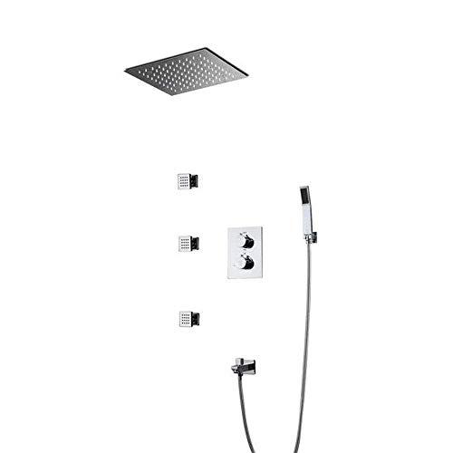 IREANJ Juegos de bañera ducha LED en el baño, incrustado en la pared, ducha oculta preincrustada, ducha de lluvia temperatura constante baño