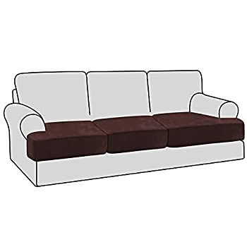 H.VERSAILTEX Stretch Velvet 3 Piece T Cushion Sofa Slipcovers Individually Sofa Cushion Covers for 3 Cushion Couch Seat Cushion Covers for Sofa Seat Cushion Covers Stay with Elastic Bands Brown