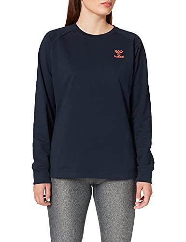 hummel Action Cotton Sweatshirt Damen, Dark Sapphire/Fiesta, M