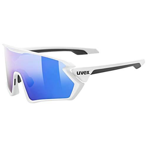 uvex Unisex– Erwachsene, sportstyle 231 Sportbrille, white mat/mirror blue, one size
