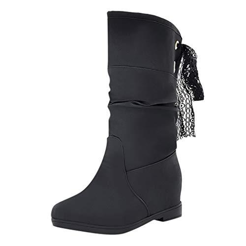 Andouy Damen Winter Warme Faux Fur Boots Casual Schnee Halbschaft Stiefel Wedges Booties(35.5 EU.Schwarz)
