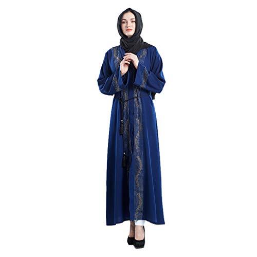 QinMM M-Muslim Damen Strickjacke Robe Handmade Perlen Rock - Elegante Sommermode Langarm Abbay Dubai...